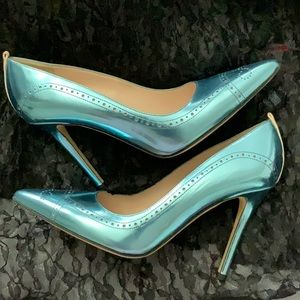 SJP by Sarah Jessica Parker Shoes - SJP Blue Metallic Closed Toe Heels Size 36.5